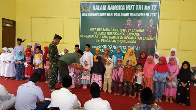 Koramil Lawang Doa Bersama Anak Yatim, Tasyakuran HUT ke 72 TNI