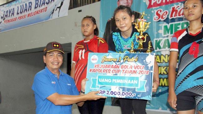 Kejurcab Bola Volly Piala Kapolres Mojokerto Cup 2018 Berakhir Manis dan Sukses