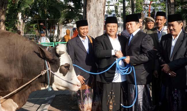 KURBAN - Bupati Sidoarjo, Saiful Ilah menyerahkan sapi kurban seberat 1 ton kepada Ketua Takmir Masjid Agung, Nadhim Amir dan Wabup, Nur Ahmad Syaifuddin menyerahkan sapi kurban seberat 936 kilogram kepada perwakilan Kemenag Sidoarjo, Minggu (11/8/2019)