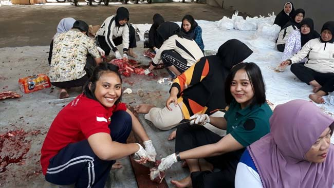 Polwan-polwan Polres Malang Kota dilibatkan dalam prosea pemotongan daging. (gie)